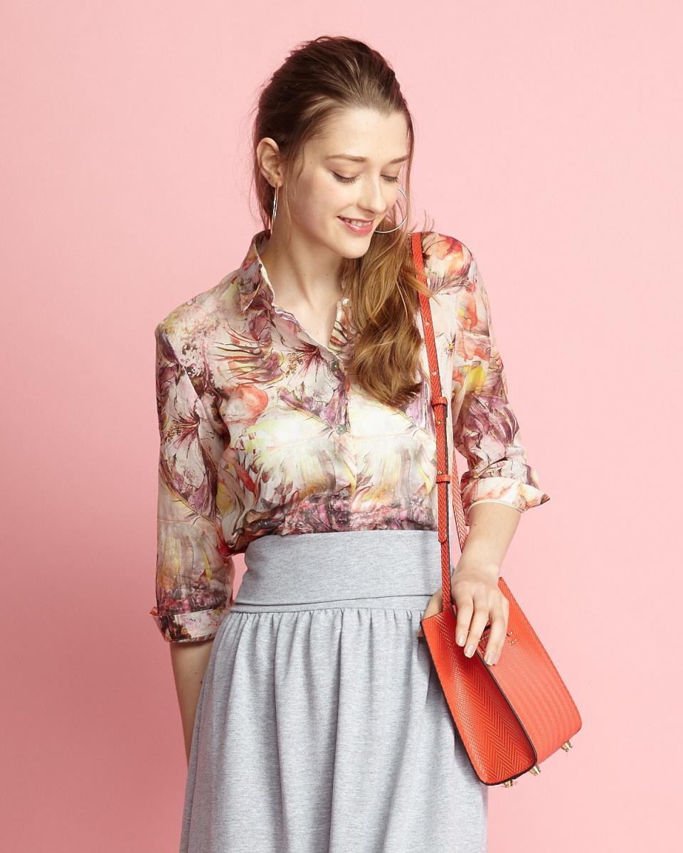 ANNA巴薩尼/紅色系植物印刷70%袖罩衫/女裝