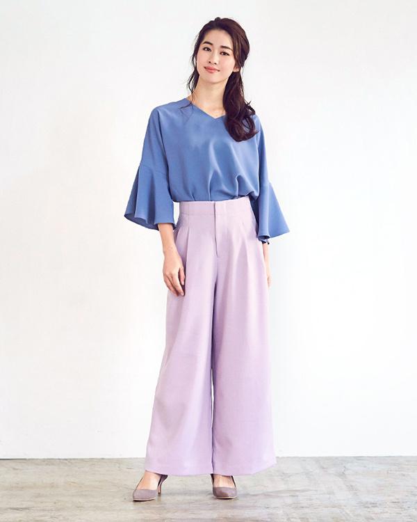 UR的/淺紫色高腰襉寬褲/女裝