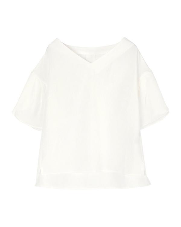 ur's / white linen-like wrap sleeve blouse / Women's