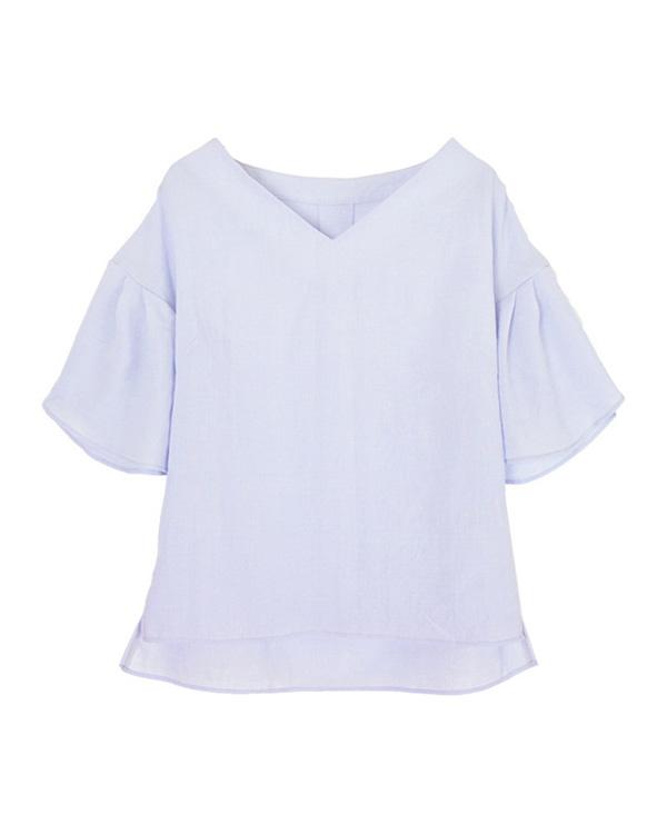 ur's / purple linen-like wrap sleeve blouse / Women's