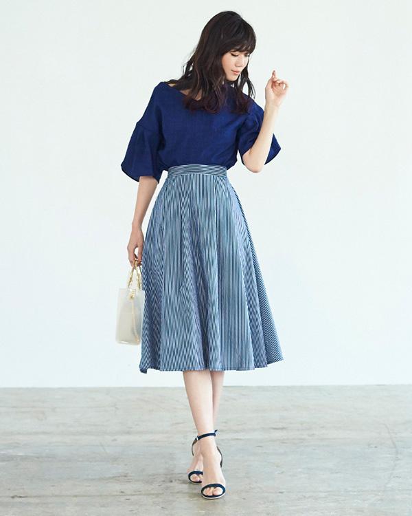 ur's / navy linen-like wrap sleeve blouse / Women's