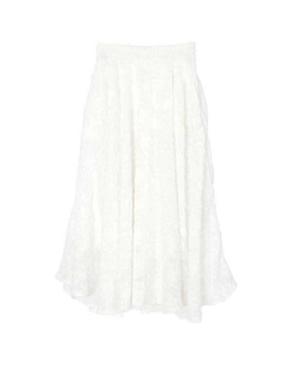 ur's / white chiffon floral flare skirt / Women's