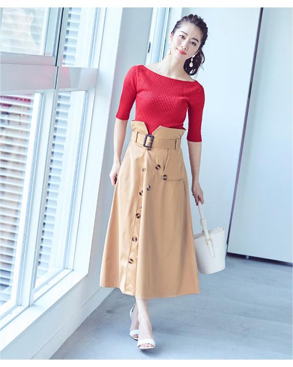 ur's / beige trench-style flare skirt / Women's