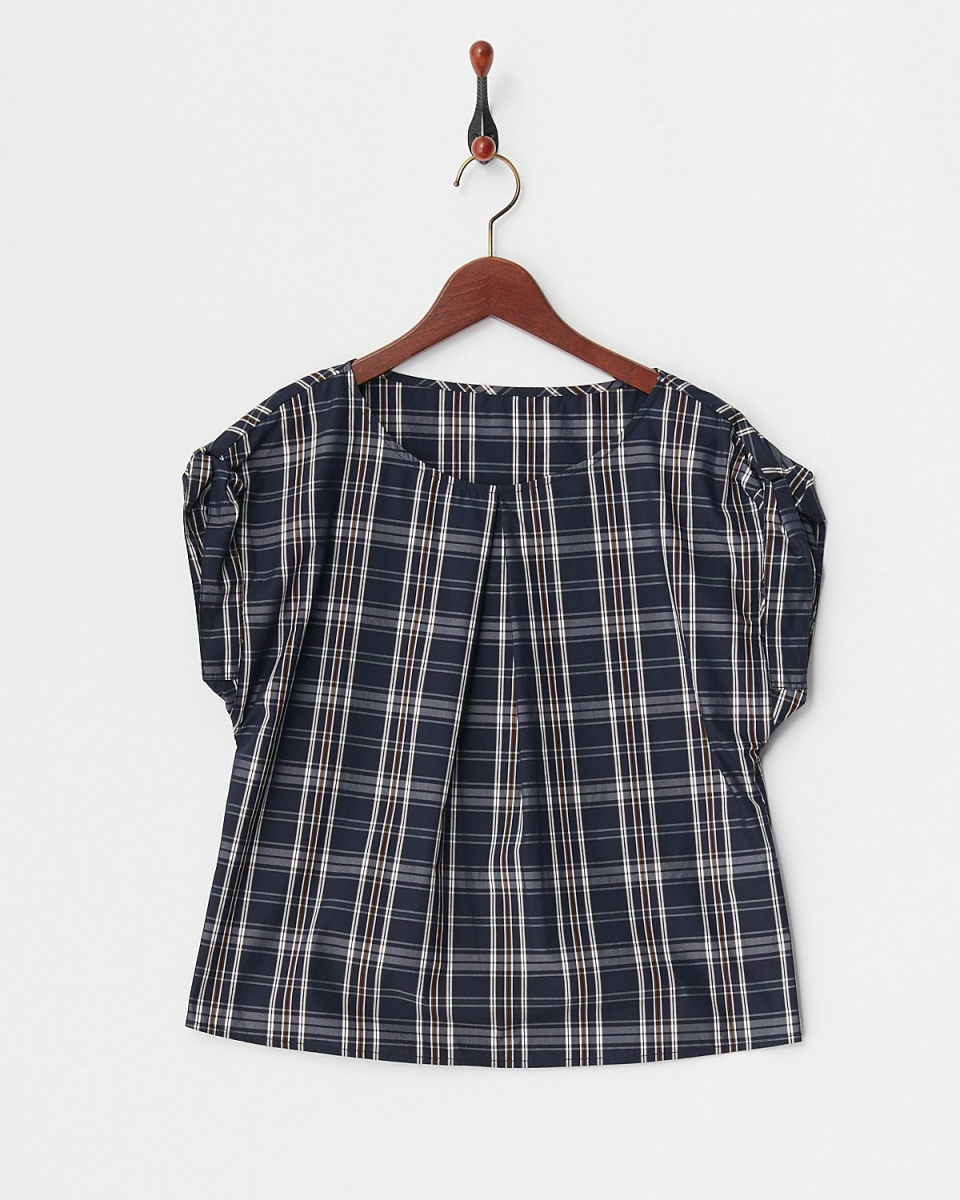 Human 2nd Occasion / navy deformation sleeve blouse ○ 81-1637 / Women's