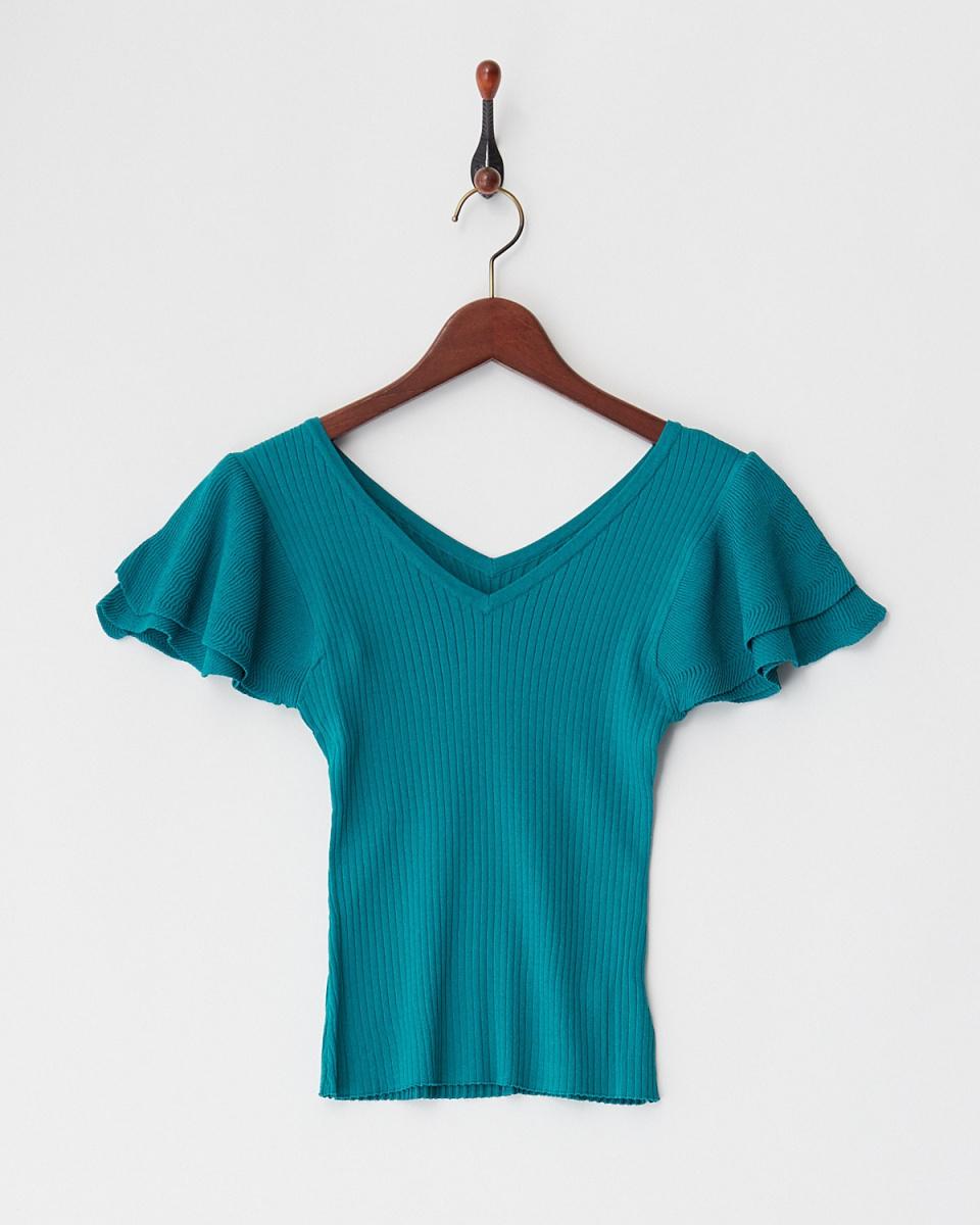 ROYALPARTY /绿袖皱褶针织上衣/女