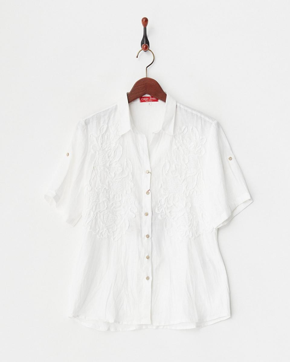 corsorosso /灰白色亚麻欧洲卷起皮带用亚麻衬衫/女