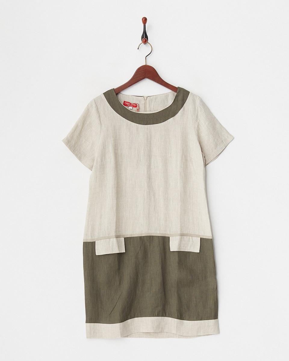 corsorosso / beige EUROPEAN FLAX color linen dress / Women's