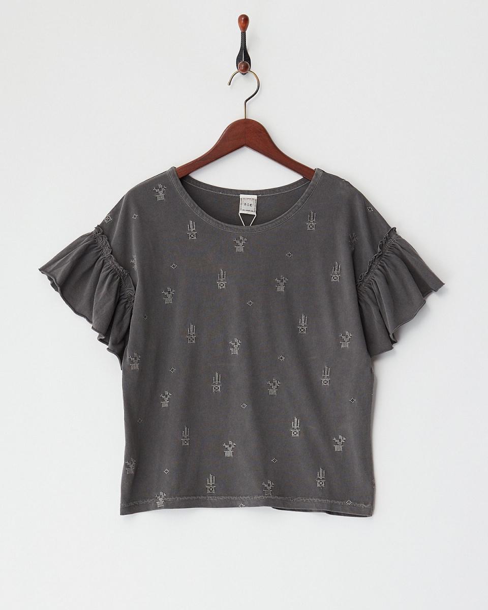 A.I.C / BLACKサボテン刺繍 ギャザースリーブTシャツ○11812752 / ウィメンズ