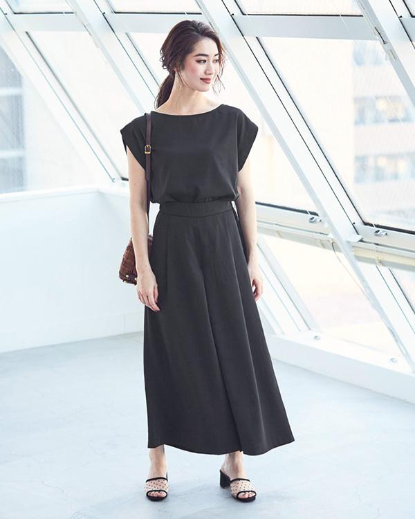 ur's / black tops × wide pants set / setup / Women's