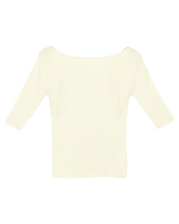 再找补一下/淡黄色关闭肩花纹针织套头衫/女装