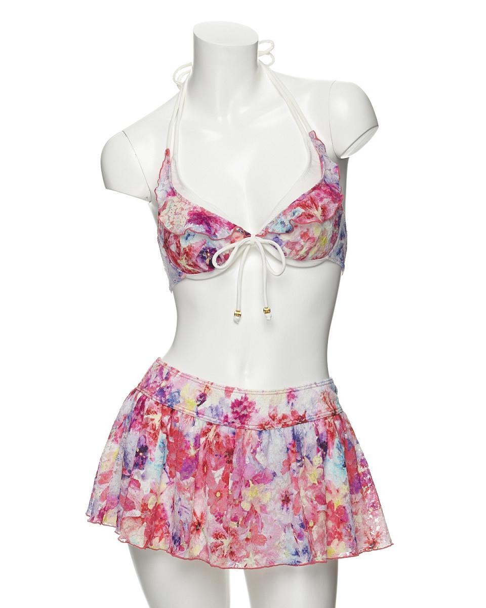 Aruyu(泳衣)(RU)/粉红游泳衣(花边花香比基尼顶部和底部3件与Kyuropan设置)