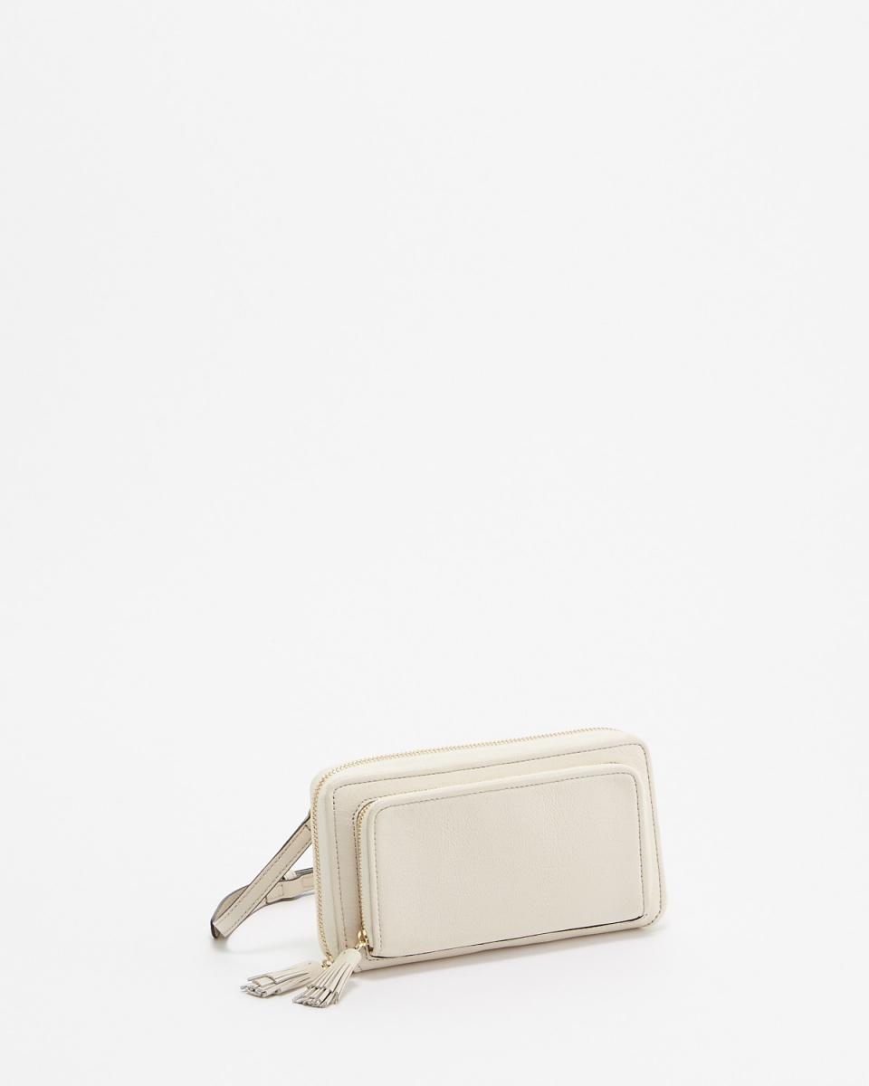 SOPRAM /白色圓形拉鍊錢包肩膀○SDW-1718