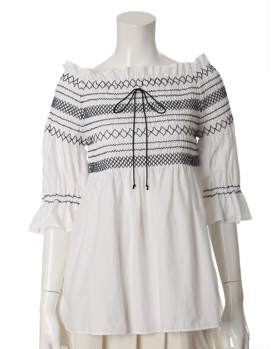 """EF-DE L码/灰白色1 """"EF-DE"""" 2WAY刺绣半截袖套头衫EF-DE L码○5572182041 /女装"""