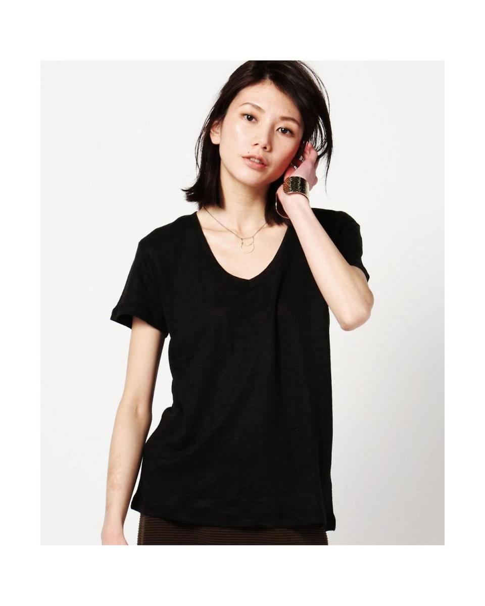 R/B(バイイング) / BLACK1ベーシックショートスリーブリネンVネックTシャツ R/B(バイイング)○6016113246 / ウィメンズ