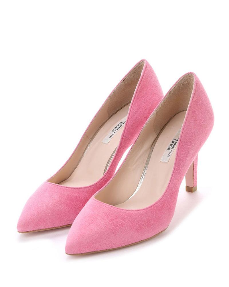 七十二點半/粉紅色麂皮LovelyWalk尖泵○105187A /女裝