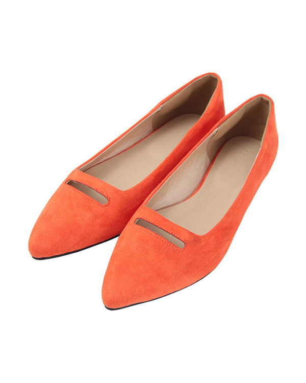 再找補一下/麂皮/橙色前裁切尖頭平泵/女裝
