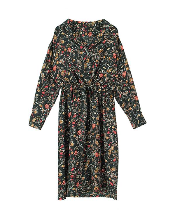 titivate / green botanical print open-necked shirt dress / Women's