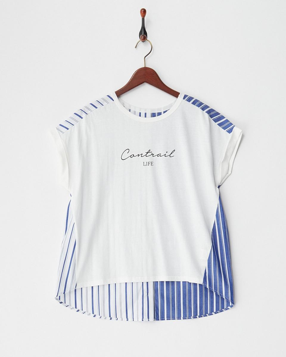 vingtrois / オフ布帛ドッキングロゴTシャツ○182-55334 / ウィメンズ