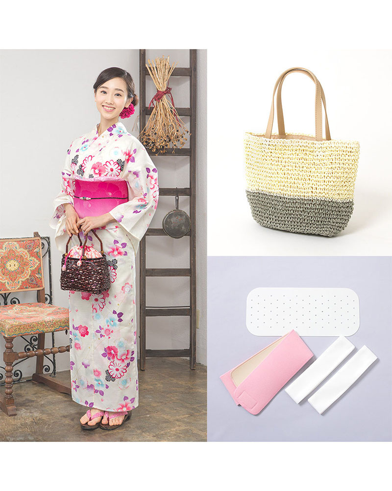 Yukataya's .com / Ivory-based flower mix-building zone set before tax 4,800 yen bags | WOMEN ○ 88-GLADD-66set