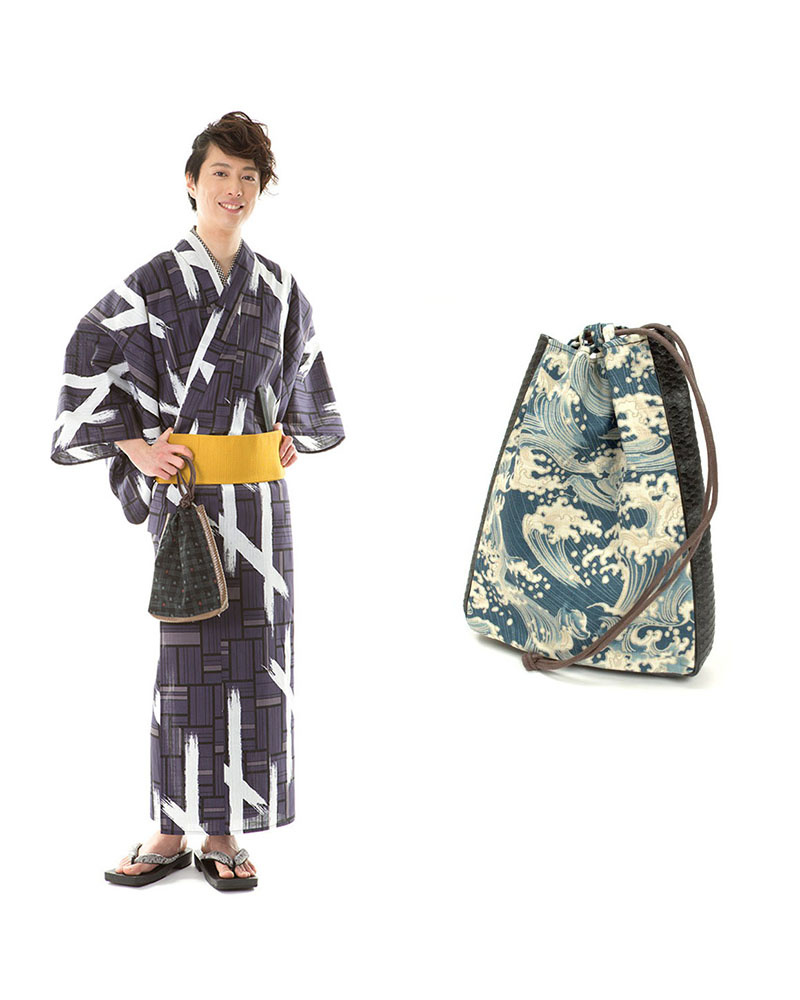Yukataya's .com / Charcoal Navy-based paint-style men's one-touch band set before tax 5,900 yen bags | MEN ○ 88-GLADD-172set