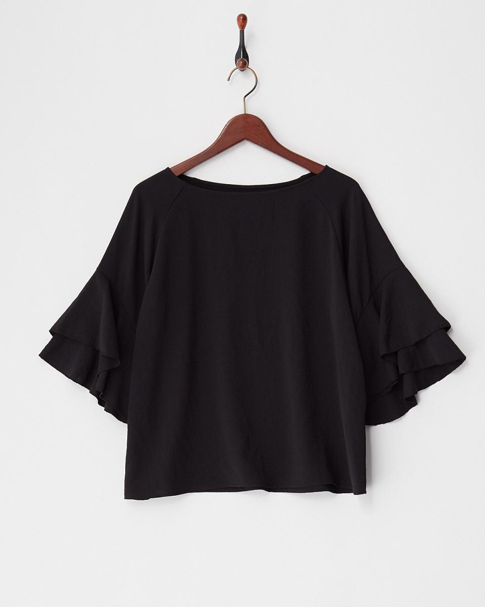 人类第二场合/黑分层袖罩衫○83-1651 /女装