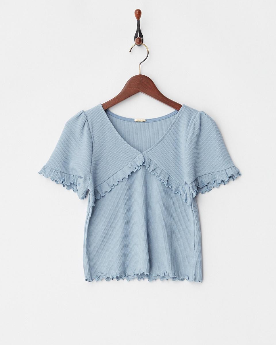 Supreme.La.La /淡蓝色玻璃肋剪上衣○181-CS005 /女装