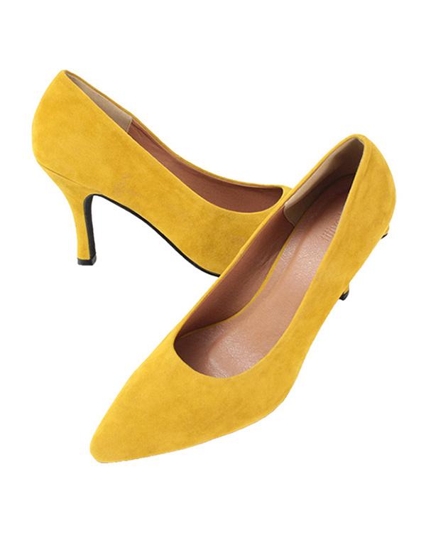 再找補一下/麂皮/黃尖的鞋頭泵8.5厘米腳跟○AQXQ1451 /女裝
