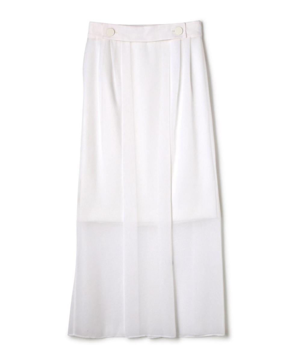 Adour / White triacetic chiffon two-ply skirt Adour ○ 5317120206 / Women's