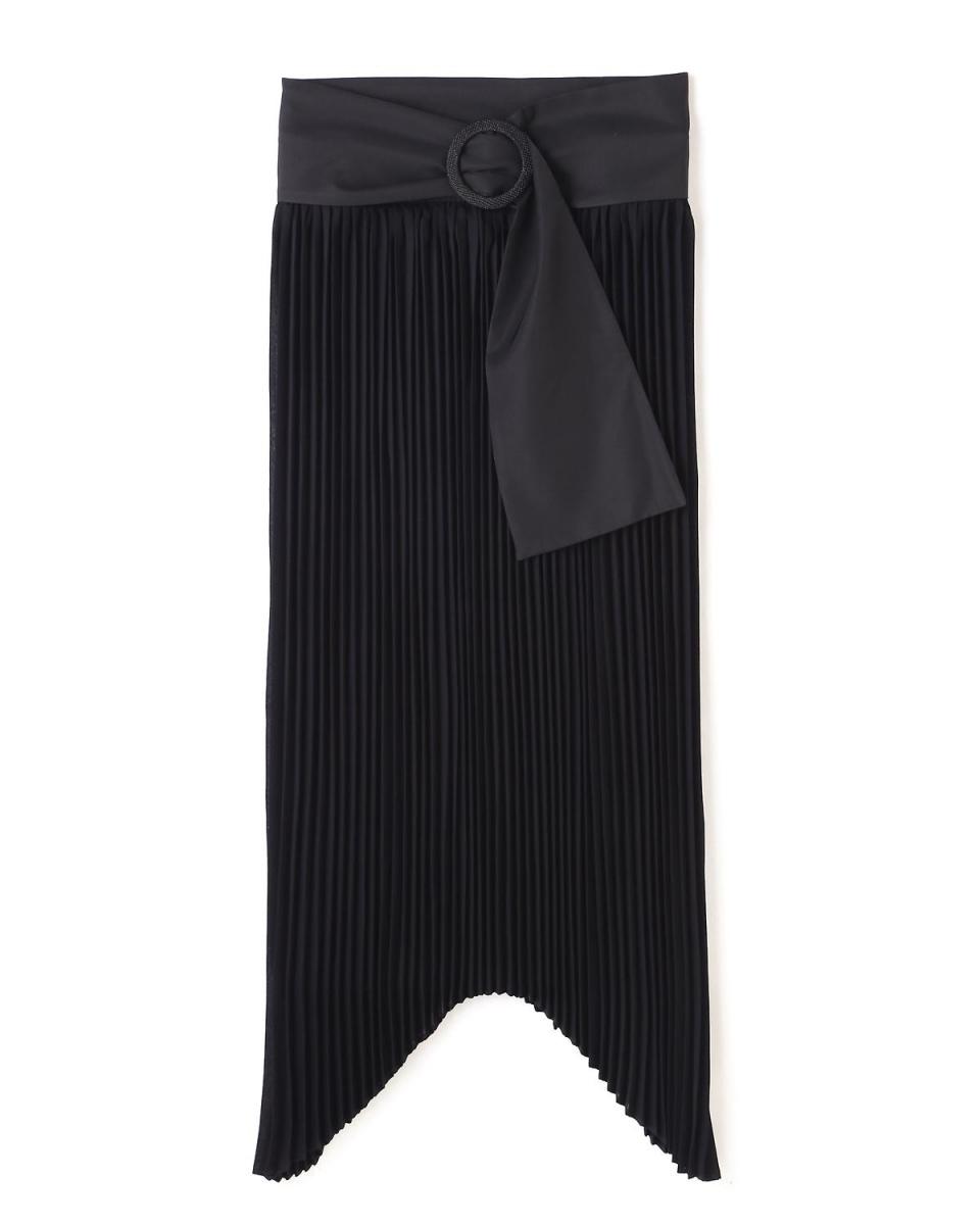 Adour / navy high twist zero grayed satin Asymmetric tree hem pleated skirt Adour ○ 5317120413 / Women's