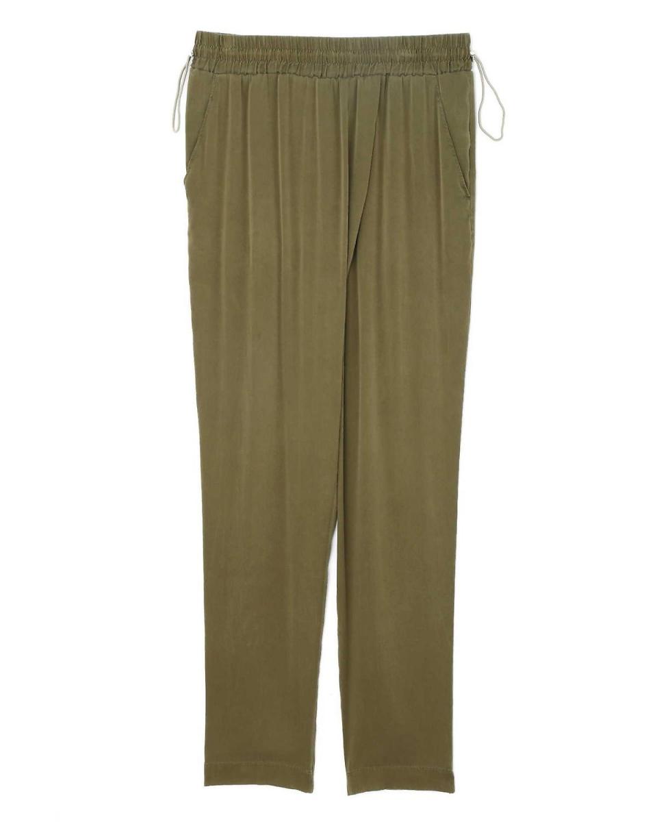Adour / Khaki light silk pants Adour ○ 5318130326 / Women's