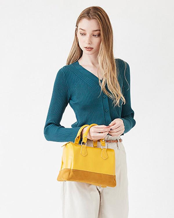 titivate / mustard simple mini Boston bag ○ ASXP1805