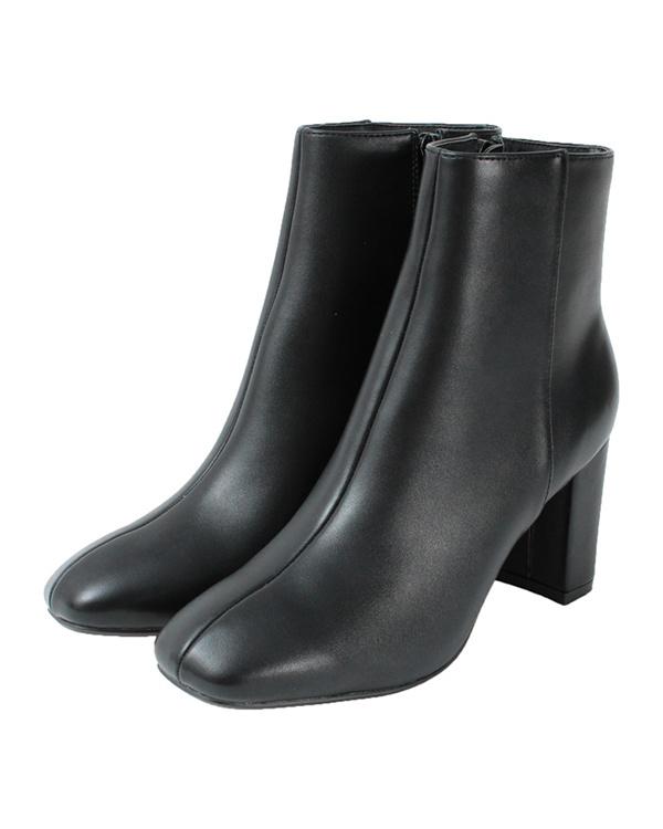 再找补一下/ PU /黑矮胖跟方头鞋短靴○ASXP1901 /女装