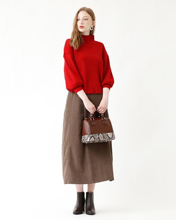 再找补一下/褐色桃皮褶裥喇叭裙长○ASXP1965 /女装