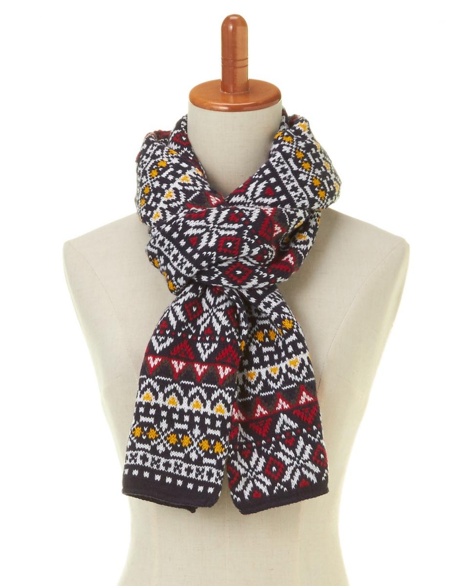 YOSHIMASA / Navy Nordic jacquard knit scarf ○ 7305