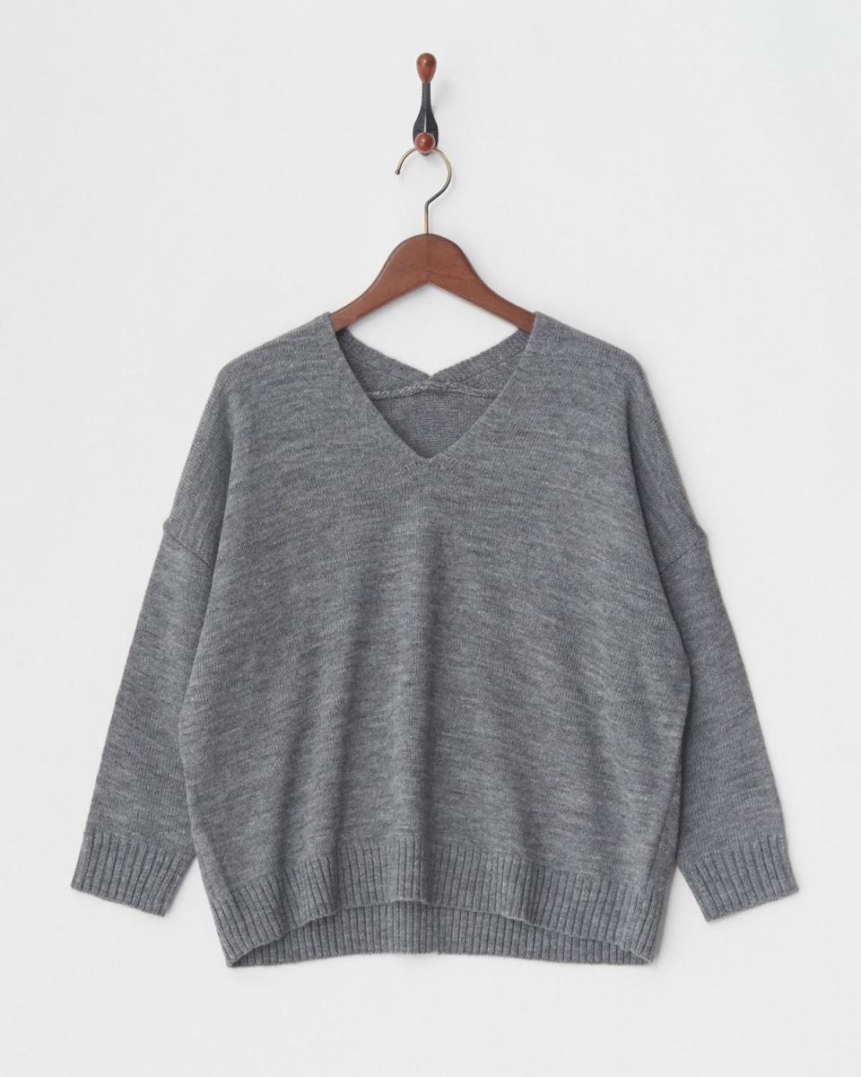 人类第二场合/灰色V领针织○83-1036 /女装