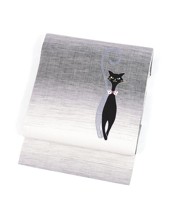 Kimono play .net / gray black-based cat & gradient hemp Obi Nagoya Obi ○ 31-YZ14-AN04