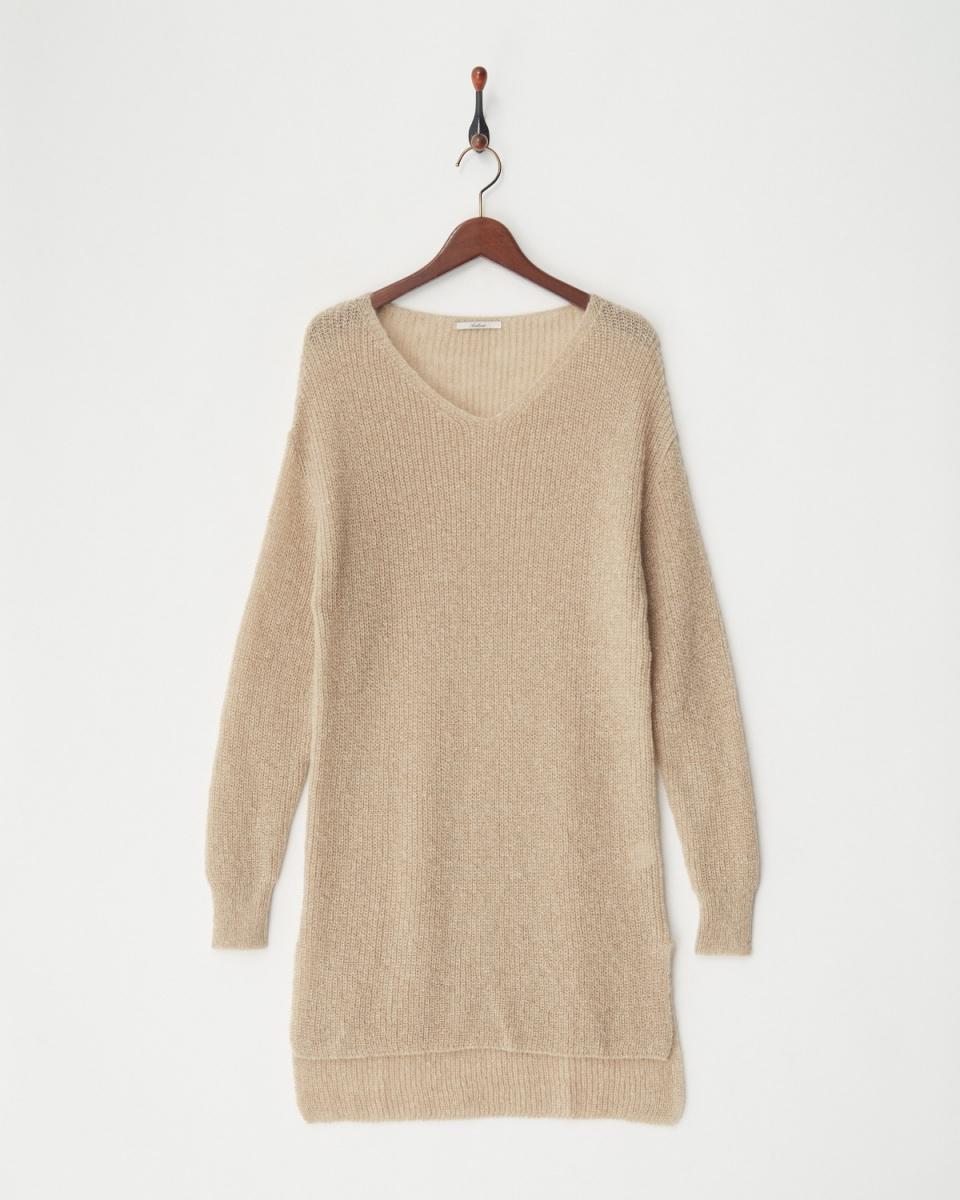 AMBINET / beige V-neck side slit long knit ○ CQKR0165 / Women's