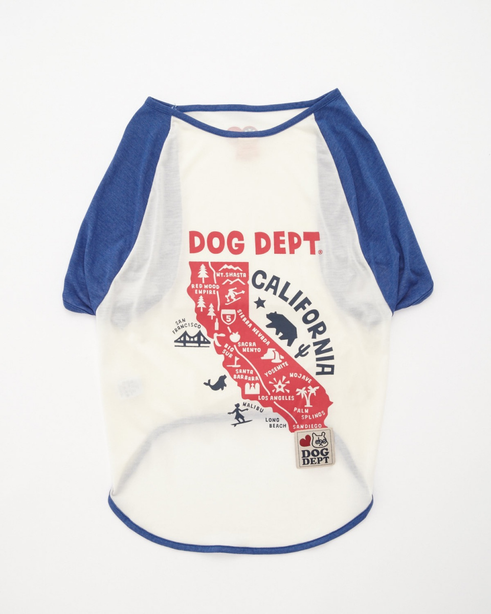 DOG DEPT / white California Raglan T-Dog Hardware ○ 7511006