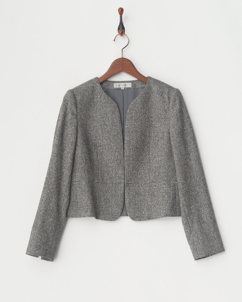AZEY-LE /灰色羊絨混紡斜紋軟呢外套○9666 /女裝