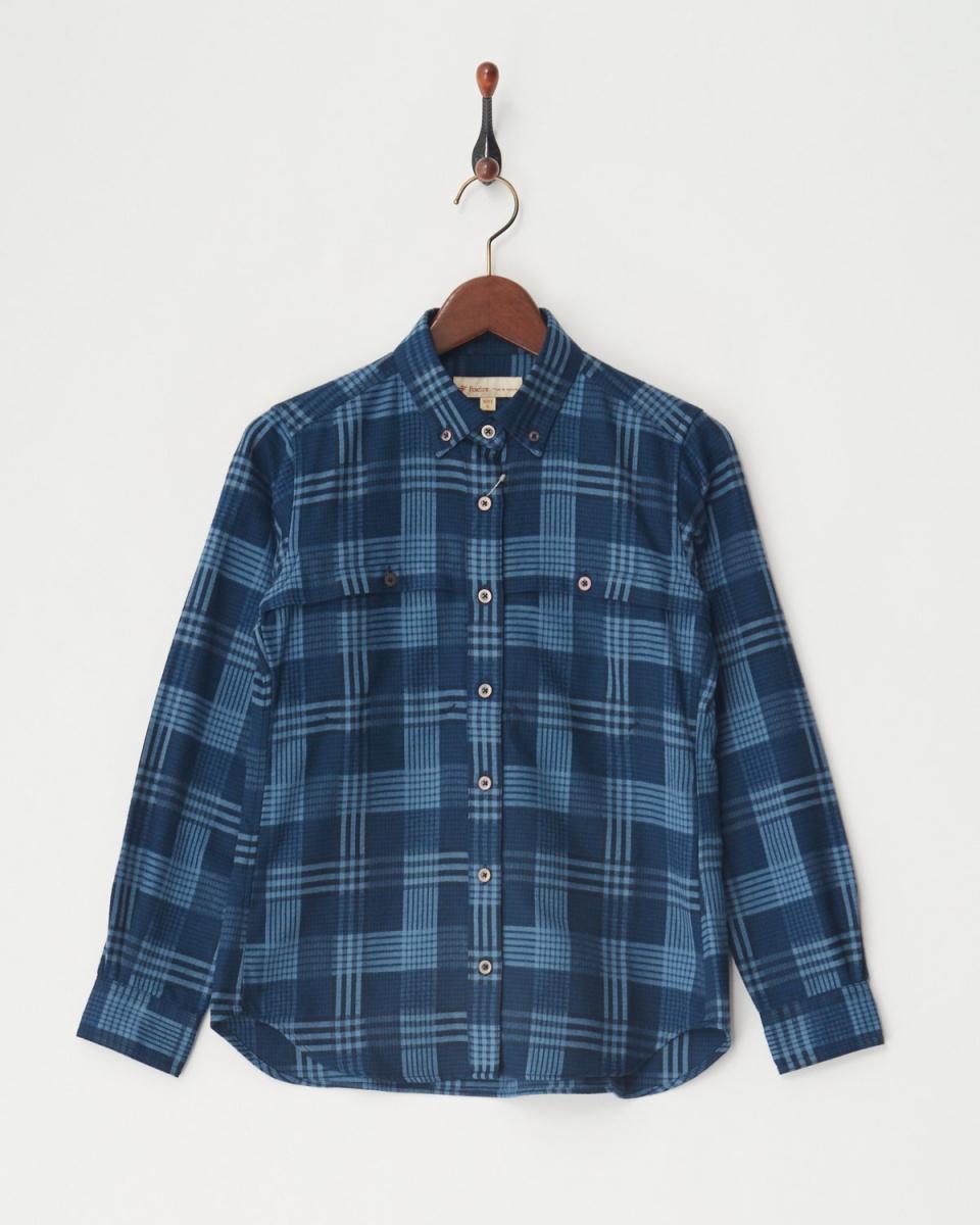 Foxfire / Navy [quick drying sweat] TS Check-in Check-shirt L / S│WOMEN ○ 8112705