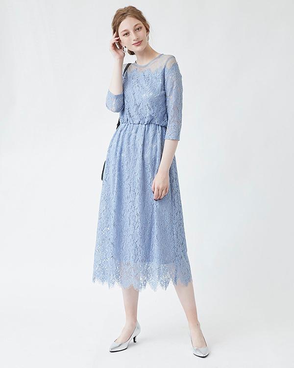 再找补一下/淡蓝色圆点薄纱蕾丝礼服○ASXP1850 /女装