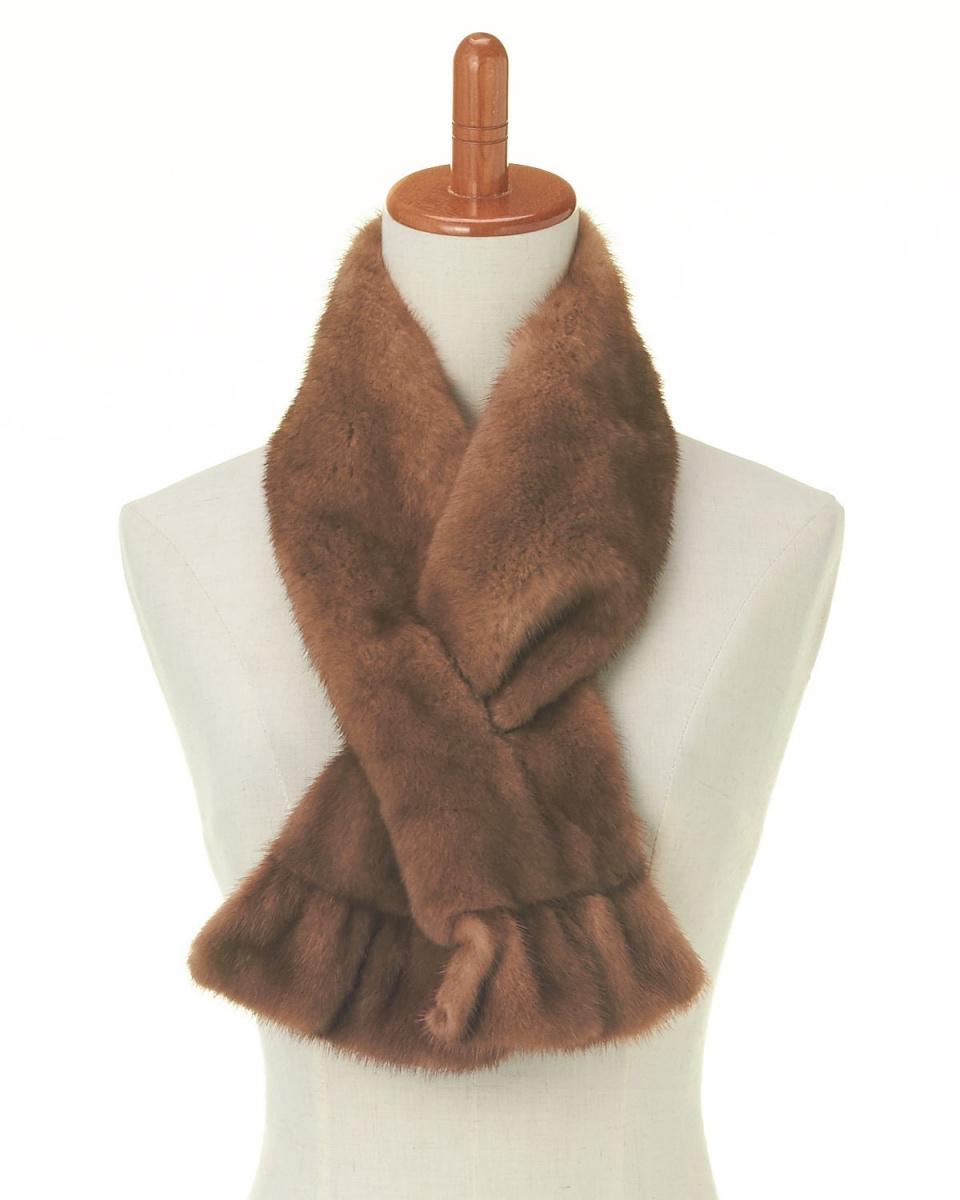 OHTSUYA / Natural light brown mink ruffle slit color ○ 202104
