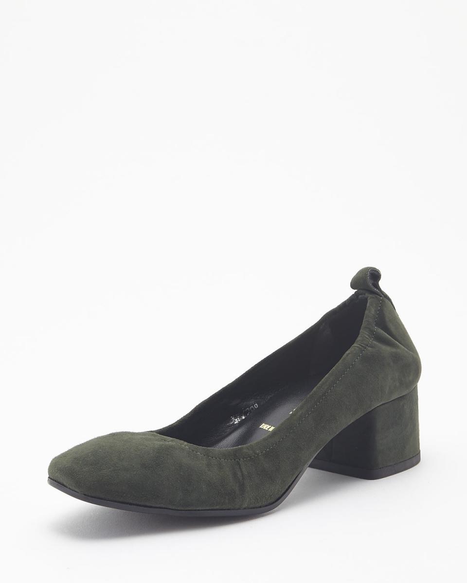 BRUNO PREMI / khaki thick heel pumps ○ n3505ca / Women's