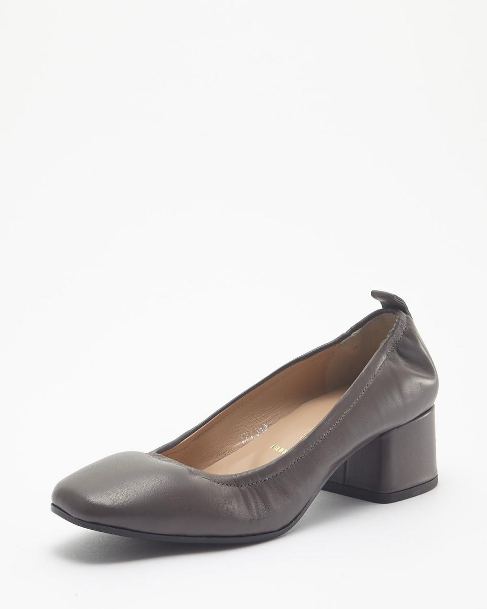 BRUNO PREMI / light gray thick heel pumps ○ n3505na / Women's