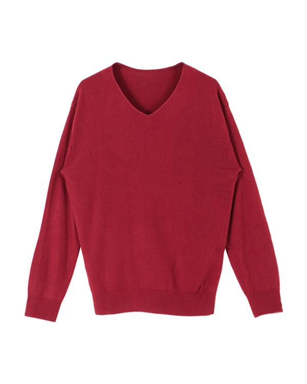 再找補一下/紅色羊絨觸摸V領針織○ASJN0061 /女裝