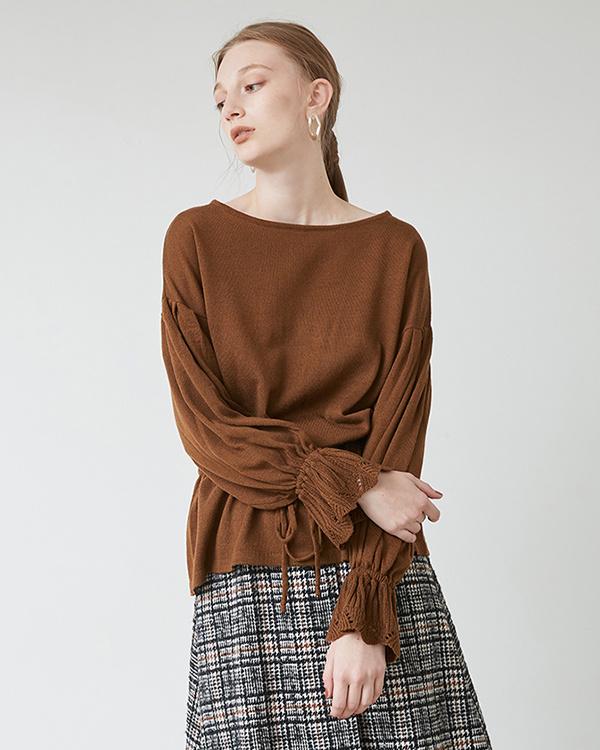 titivate / Camel waist gather bulky yarn knit pullover ○ ASJR0080 / Women's
