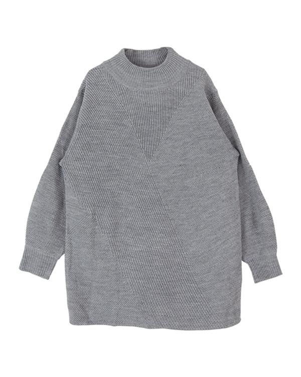 再找补一下/石楠灰色偏压切换笨重外衣长度针织○ASJR4016 /女性