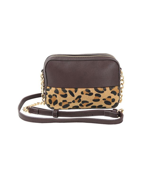 titivate / Leopard / Brown mini shoulder bag ○ ASXP1796