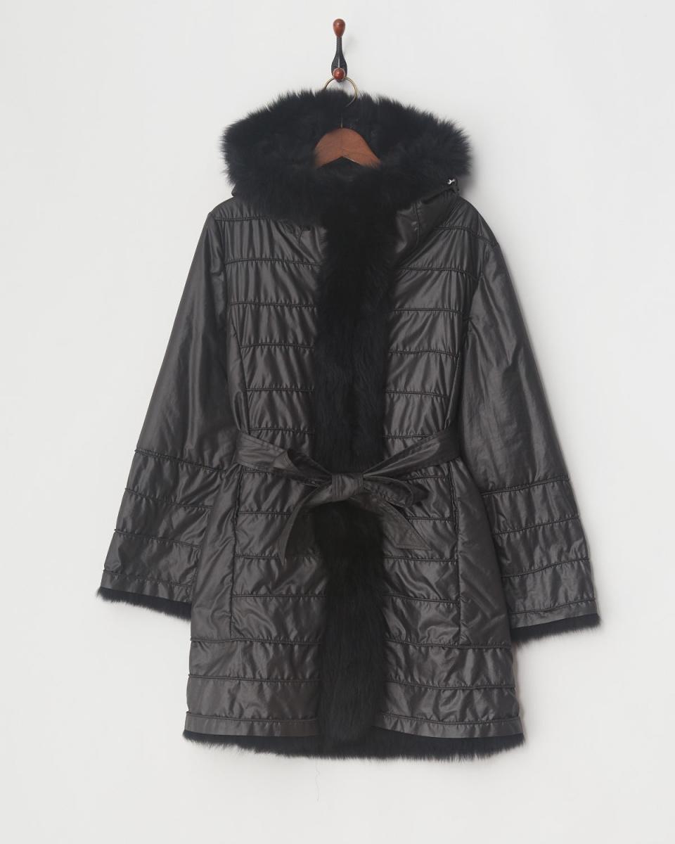 VESGIOIA / black poly Fox reversible coat ○ F-19374 / Women's