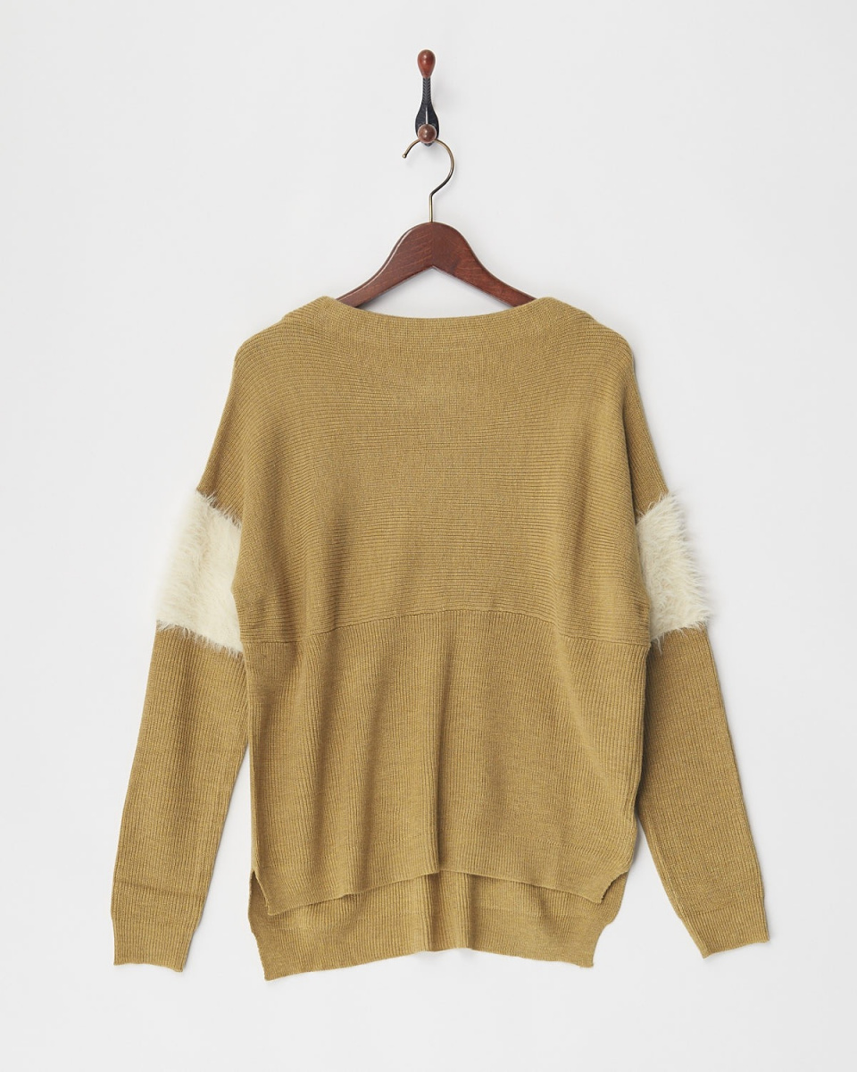 VINGTROIS / yellow sleeve shaggy knit ○ 148-98191 / Women's